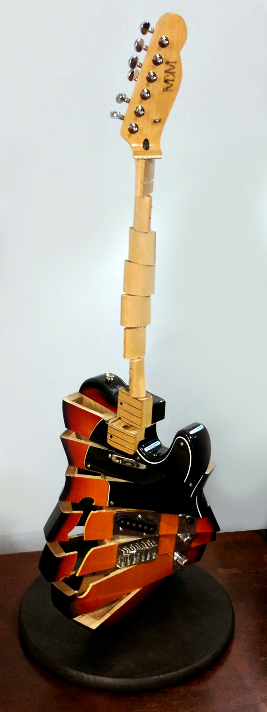 'Rain City Two'    Broken electric guitar, Mixed Media. 2016   Donated to the Rain City Rock Camp for Girls annual charity auction.