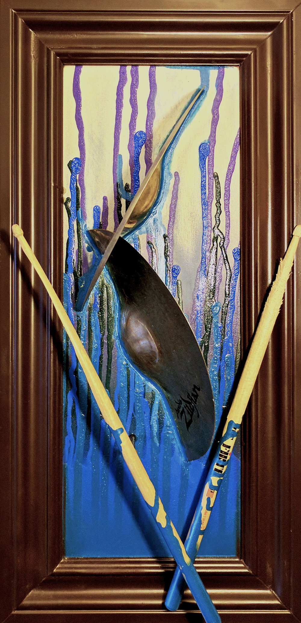 'The Beat'  Broken sticks and cymbals from Kyle Veazey (of Duke Evers, My Goodness), Mixed Media.2016