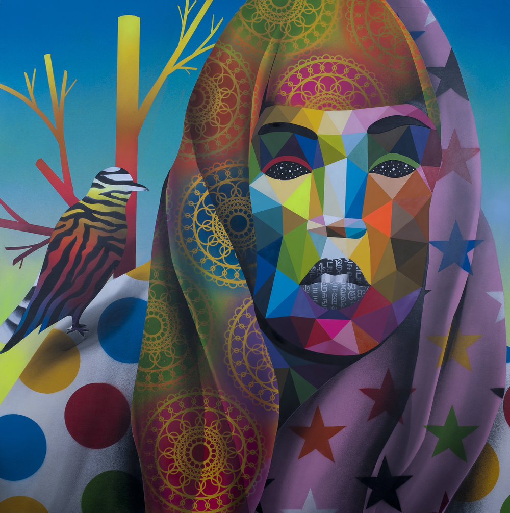 Okuda 2017 -  Indian Soul  - 120x120 cm- Synthetic enamel on wood