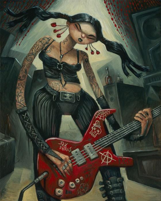 "Tim Lee – Punk Rock Girl   Size: 16"" x 20"" Framed  Medium: Oil paint on cradled wood panel"
