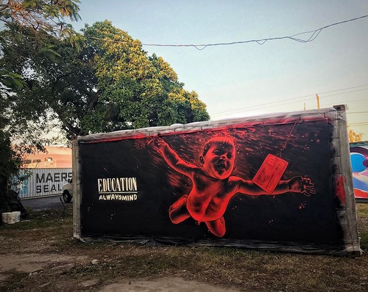 """ALWAYSMIND"", Miami 2017. by  MTO  Piece made for @streetartmankind charity event against child slavery. Open 10-20 feb.  7401 NW Miami Ct.  Little Haiti. Miami, FL.  Photo credit :  @sandroabate"