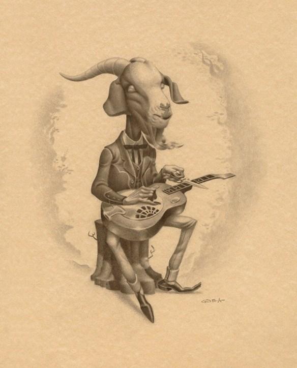 Gabi De La Merced –  Devil's Dobro    Graphite on Hand Toned Paper, 11.4×14.2″ in. (15.4×18.2″ in. Framed)