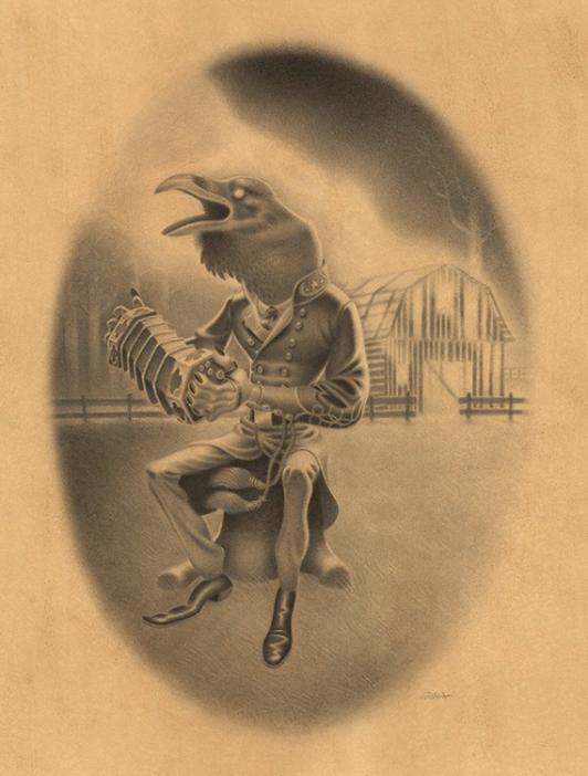 Gabi De La Merced –  Old Jim's Barn Dance    Graphite on Hand Toned Paper,13.2×17.4″ in. (18.2×22.4″ in. Framed)
