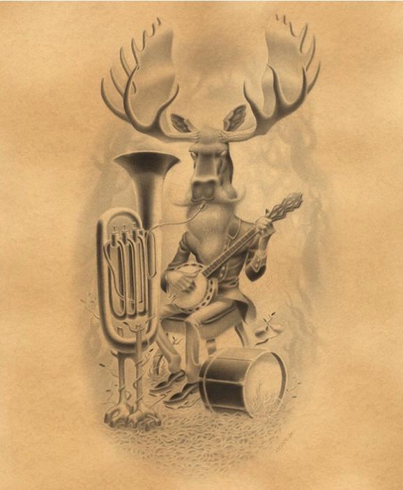 Gabi De La Merced –  The Black Moose    Graphite on Hand Toned Paper, 12.8×15.4″ in. (17.8×20.4″ in. Framed)
