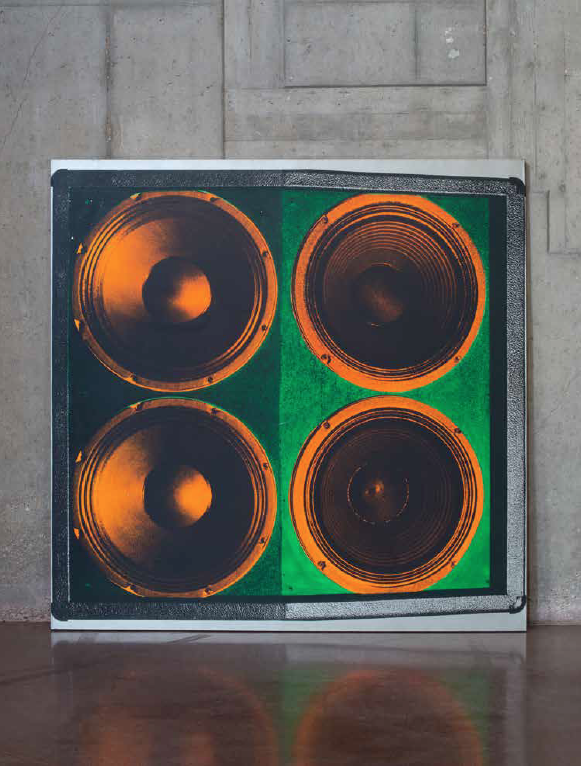 "Stephen SPROUSE American - 1953 - 2004 ""Speaker Stack"" - 1998 Screen printing ink and acrylic on canvas 60.04 x 60.04 in. 5 000 - 7 000 € Origin: The Stephen Sprouse Estate Deitch Projects, New York Acquired from the latter by the current owner Exhibition: Deitch Project, New York, Stephen Sprouse, Rock on Mars, January 9 to February 28, 2009 Photo credit : Marc Chatelard for Artcurial"