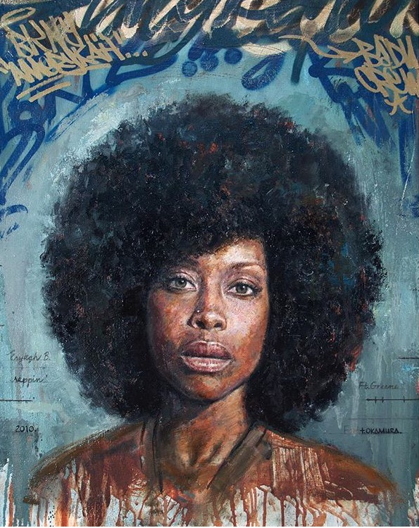 "Artwork by  Tim Okamura  ""Erykah"", 30 x 26"", oil, aerosol, paint marker on canvas"