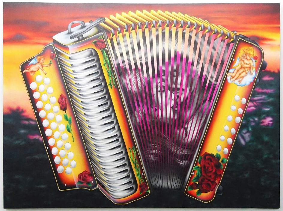 "Accordion, 2017 Airbrush on Canvas 72"" x 96"""