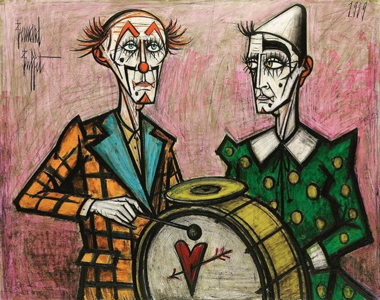 "Bernard BUFFET, ""Deux clowns à la grosse caisse"" (1989), Oil on canvas, 130.5 x 162.5 cm"