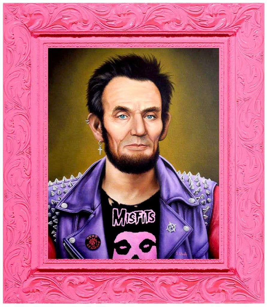 SCOTT SCHEIDLY Punk Rock Lincoln, 2017 Acrylic on Canvas 20 × 16 in 50.8 × 40.6 cm