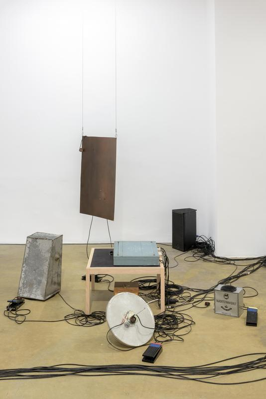 Tarek Atoui   True Laptop Quartet   2016  Wooden table, electronic box, audio amplifiers rack, effect boxes, found metal objects, transducers, foot switches, coil microphones - Practice book, music scores, activating instructions and 12