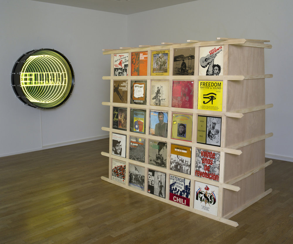COURTNEY SMITH & IVÁN NAVARRO  Music Room IV, 2017  Polyethylene foam, vinyl record collection and editions of Hueso Records, sound installation and furniture!  Variable dimensions  Installation View at Galerie Daniel Templon, Paris  Photo : B.Huet-Tutti  Courtesy Galerie Daniel Templon, Paris and Bruxelles.