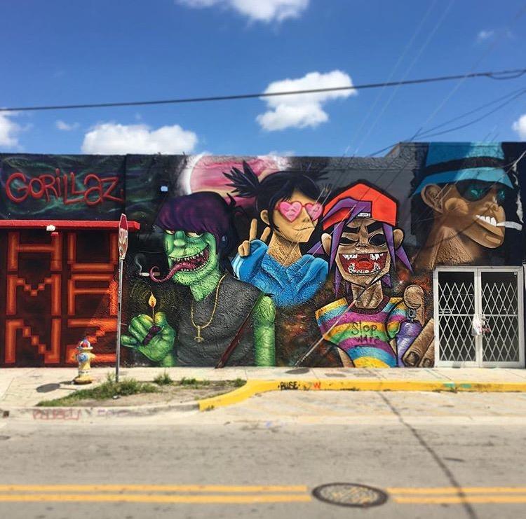 New Gorillaz mural by W eerdo1994 J ohnny_bluze M utavision I iipoints  in Wynwood, Miami