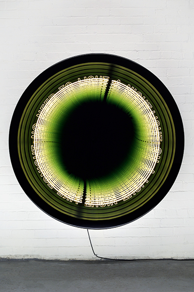 "Iván Navarro  ""Loop"", 2016 Neon, LED lights, aluminium, wood, paint, mirror, one-way mirror and electric energy 152.5 (diameter) x 30.5 (depth) cm 60 (diameter) x 12 (depth) inches Edition: 3 + 1 AP"