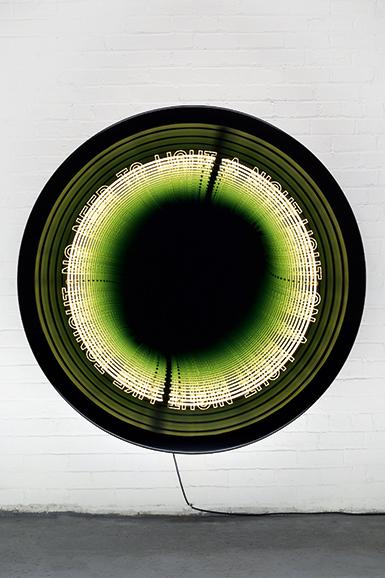 "Iván Navarro  ""Loop"", 2016 Neon, LED lights, aluminium, wood, paint, mirror, one-way mirror and electric energy 152.5 (diameter) x 30.5 (depth) cm 60 (diameter) x 12 (depth) inches Edition: 3 + 1 AP"