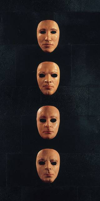 Band face masks from 'The Wall Live', 1979. Photograph: StormStudios. © Pink Floyd Music Ltd