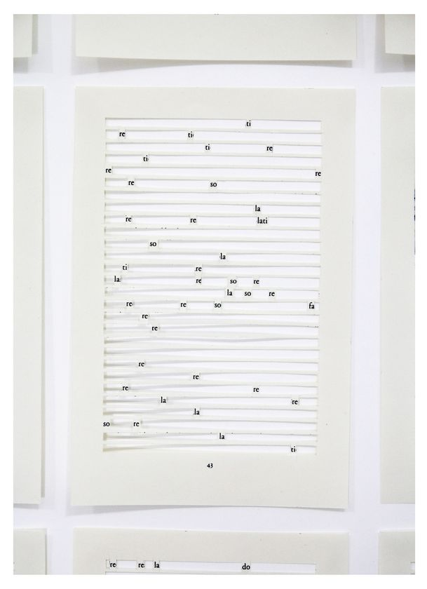 Jane Benson,  Song for Sebald (Chapter 1)  (detail view), 2016, Hand-cut archival inkjet print on paper with sound, 59 1/4 x 32 1/32 in, Edition of 3, 1AP, Courtesy of the artist and LMAKgallery, New York