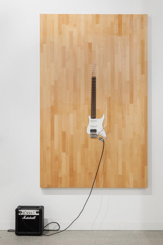 LOS CARPINTEROS Casi Guitarra (Nogal), 2016 Wood, guitar parts and Marshall amplifier 200 x 121 cm  Photo: Sebastiano Pellion di Persano / Fortes D'Aloia & Gabriel
