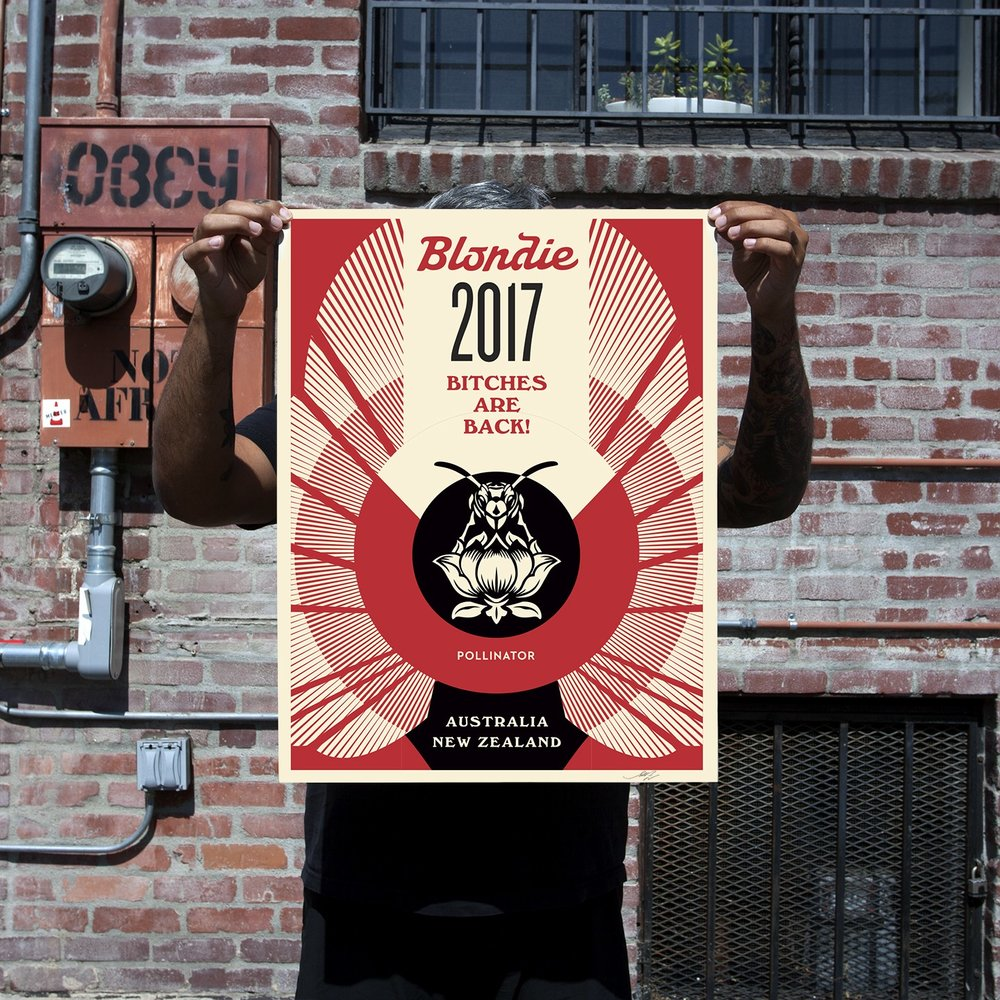 Bitches are Back! 18 x 24 inches. Screen print on cream Speckle Tone Paper. Signed by Shepard Fairey. Numbered edition of 150. $45. Available Thursday, June 22 @ 10AM (PDT) on  ObeyGiant.com  in Store under Prints. Limit 1 per person/household.