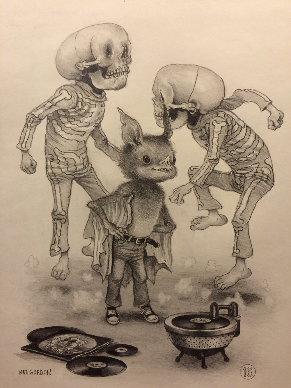 Socky's Hot Wax~ graphite on moleskine