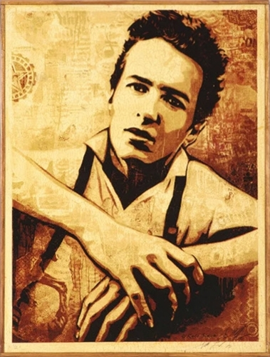 Shepard Fairey  Strummer, 2010  Screenprint on wood in artist's frame 24 x 18 x 1 in. (60.96 x 45.72 x 2.54 cm.)  Signed, dated and numbered in pencil and ink  Edition 2/2 Printed Matters, Los Angeles, pub.