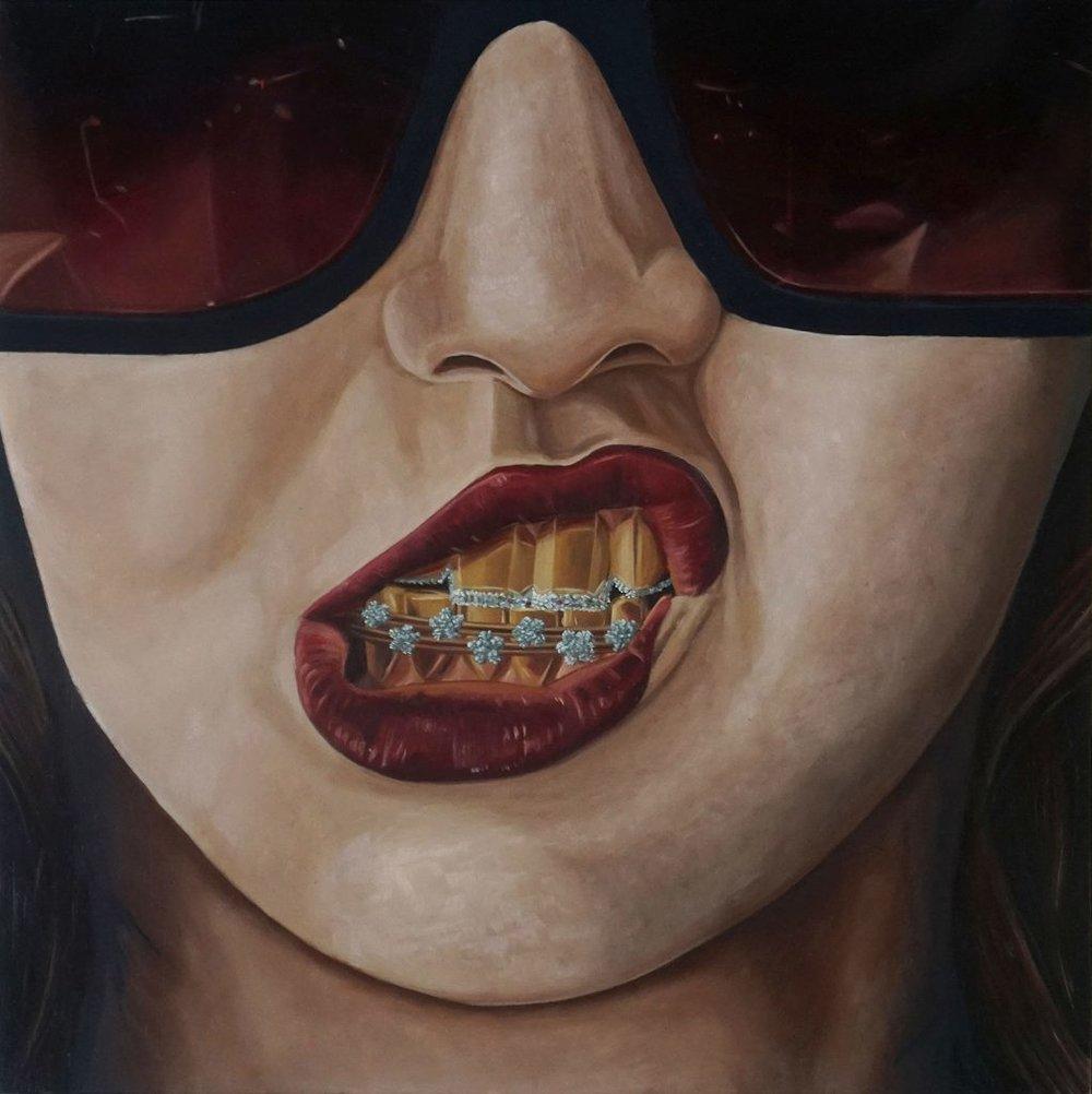 """Ken Flewelly - """"Flash & Flare"""" (2017) Oil on wood panel - 10"""" × 10"""""""