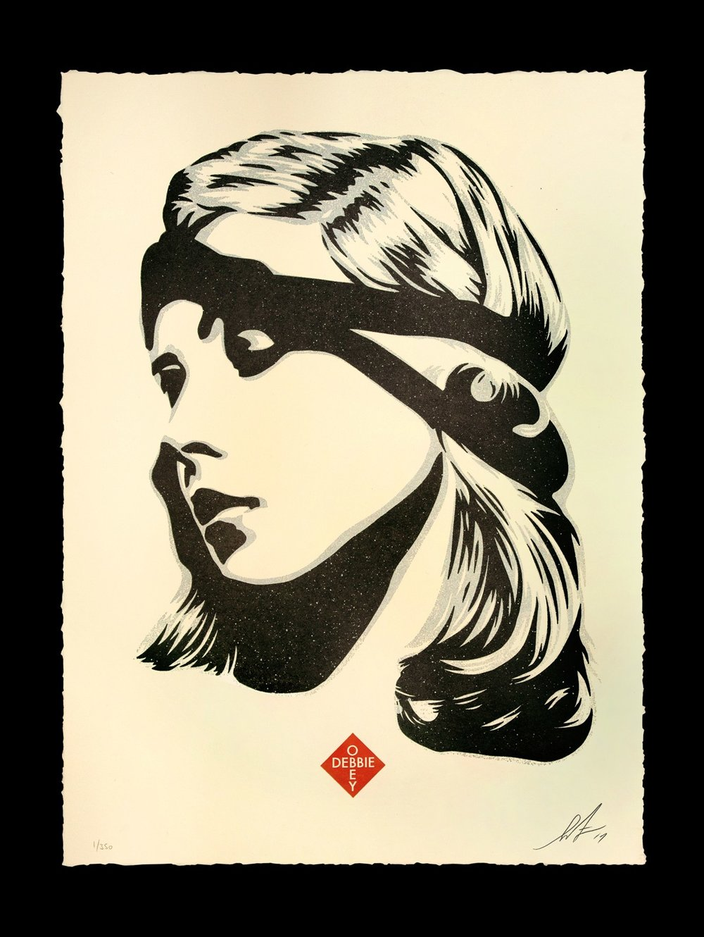 Debbie Harry, Destiny. 13 x 17 inches. Letterpress on 100% cotton archival paper with hand-deckled edges. Signed by Shepard Fairey. Numbered edition of 350. $75 per print. $150 per set. A limited number of this print will be available Saturday, August 12 at 12 PM (PDT) at the OBEY Zine Newsstand (7400 Melrose Ave) in Los Angeles. The rest available Tuesday, August 15 at 10 AM (PDT) on ObeyGiant.com in Store under Prints. Limit 1 per person/household.