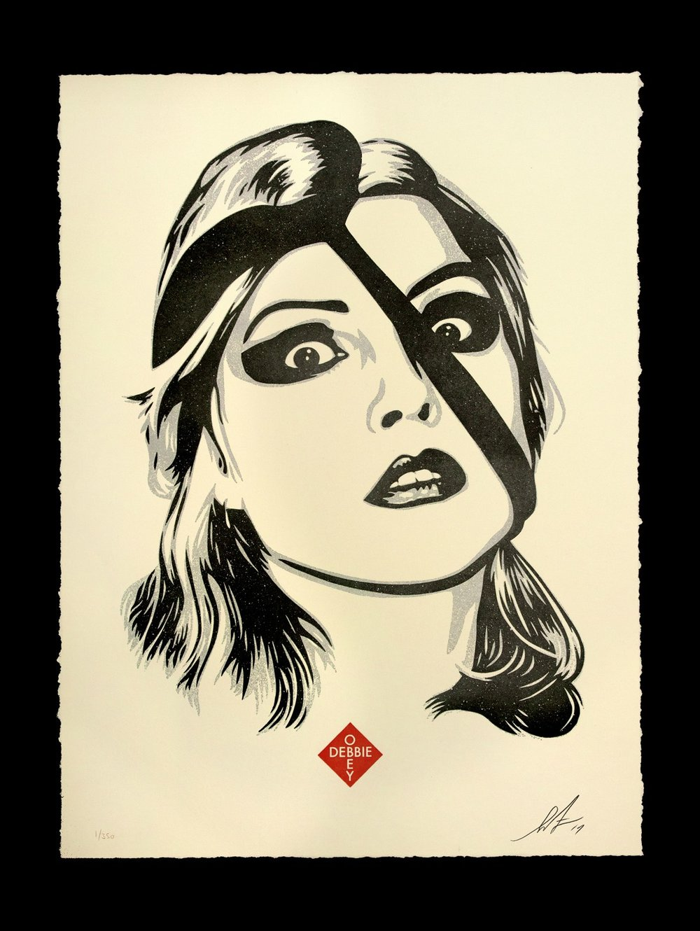 Debbie Harry, Doom. 13 x 17 inches. Letterpress on 100% cotton archival paper with hand-deckled edges. Signed by Shepard Fairey. Numbered edition of 350. $75 per print. $150 per set. A limited number of this print will be available Saturday, August 12 at 12 PM (PDT) at the OBEY Zine Newsstand (7400 Melrose Ave) in Los Angeles. The rest available Tuesday, August 15 at 10 AM (PDT) on ObeyGiant.com in Store under Prints. Limit 1 per person/household.