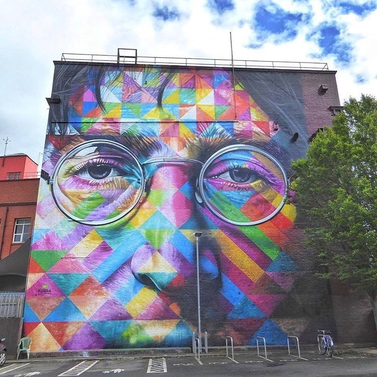 John Lennon mural by K obrastreetart  in Bristol, UK for U pfest  Photo by S treetartbristol