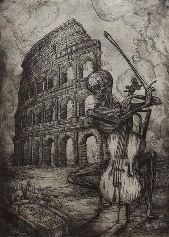 """Jonathan Guthmann - """"Dum Vivimus Vivamus (While we live, let us live)"""" - etching and engraving on Hahnemühle paper - Edition of 7 - 38 x 53cm (15""""x20.9"""")"""