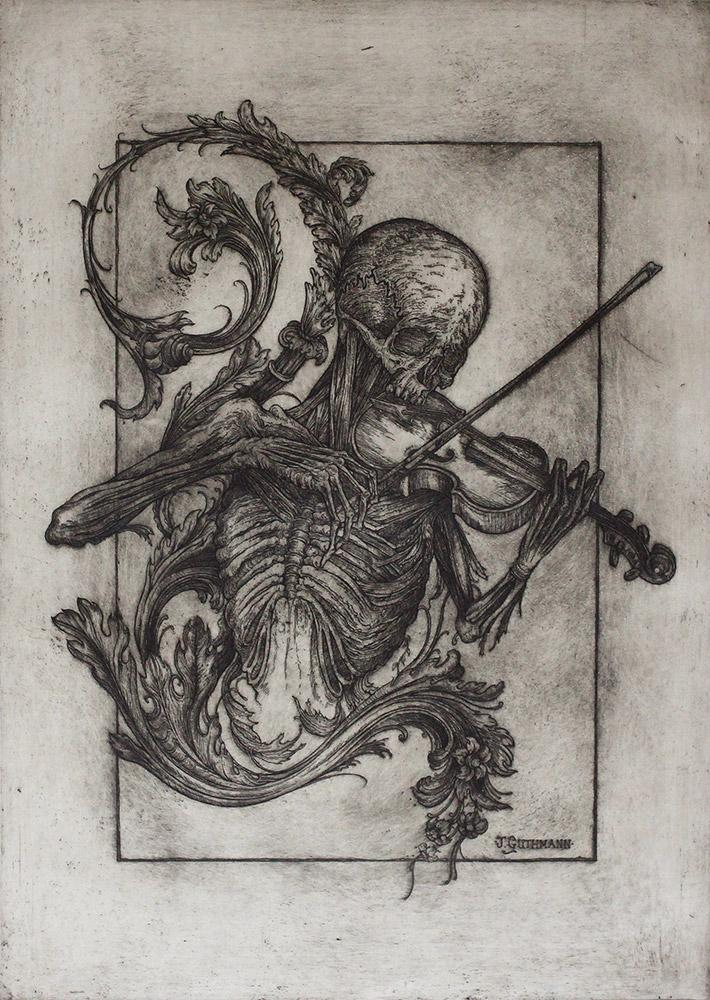 """Jonathan Guthmann - """"Death with a Violin and Acanthus Motif II"""" - etching and engraving on Hahnemühle paper - Edition of 7 - 38 x 53cm (15""""x20.9"""")"""