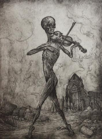 """Jonathan Guthmann - """"Memento Mori: Death Playing the Violin"""" - etching and engraving on Hahnemühle paper - Edition of 7 - 45 x 59cm (17.7""""x23.2"""")"""