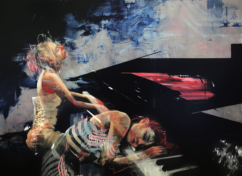 Ian Francis 'Piano Duet Collapse' (mixed media on birch panel, 31.5 x 43 inches)