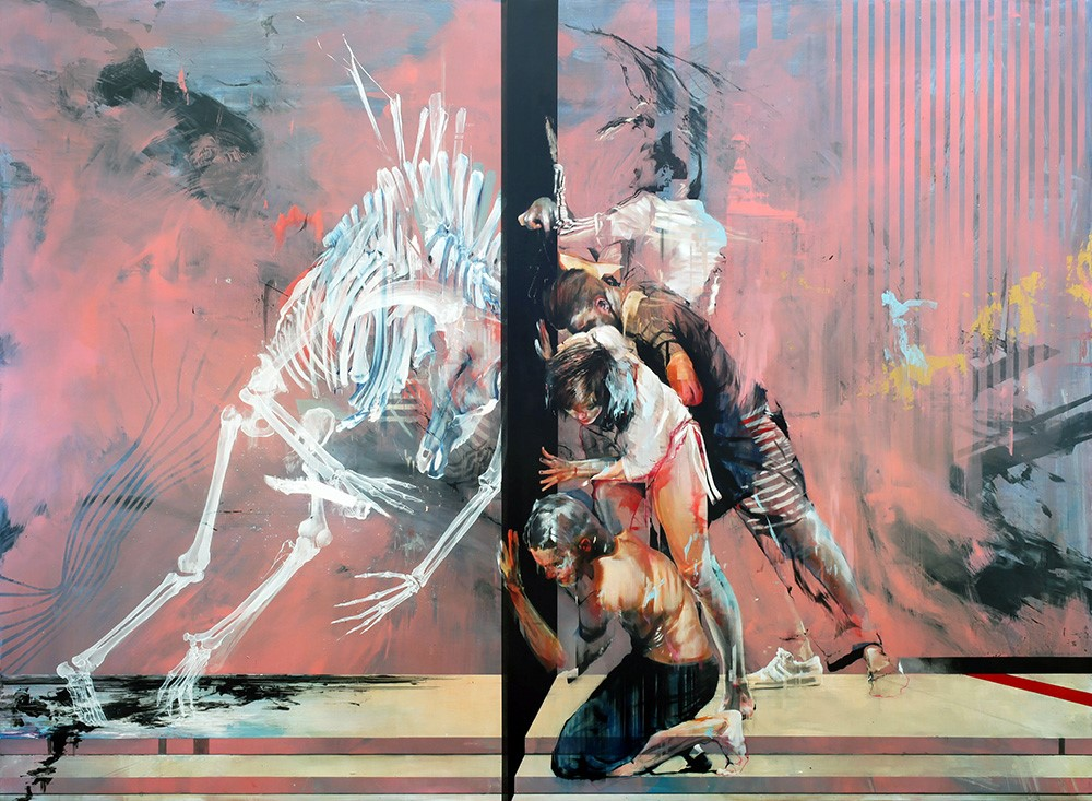 Ian Francis 'Minotaur Ossuary Disaster' (mixed media on birch panel, 43 x 60 inches)