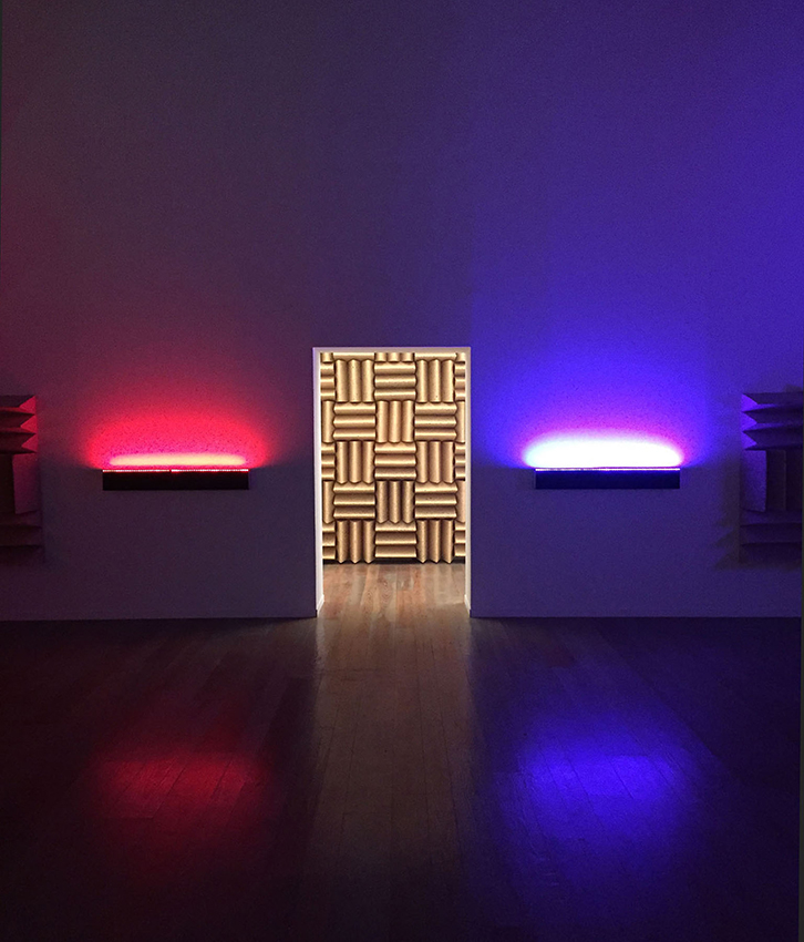 A Chamber for Horwitz; Sonakinatography Transcriptions in Surround Sound , 2015  Custom audio visual device, LEDs, speakers, foam