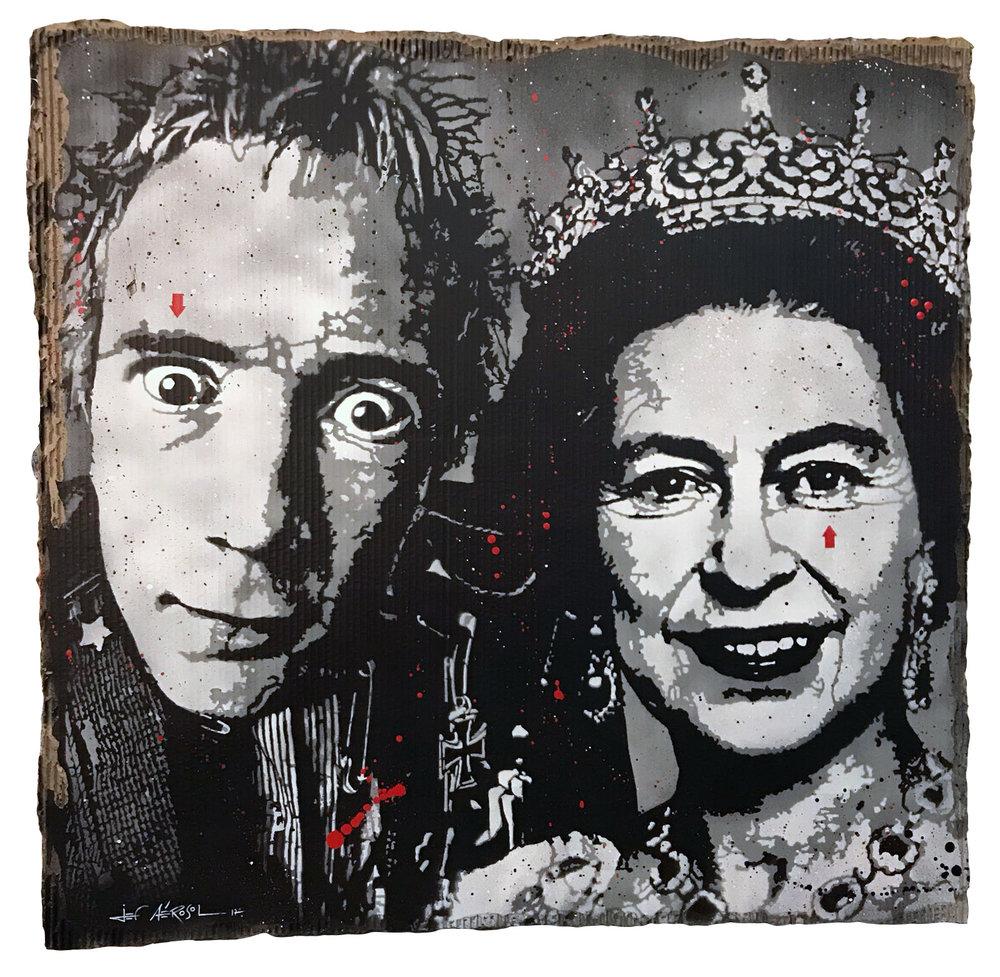 God save the Queen (Johnny Rotten & Elizabeth)  Carton 100x100cm