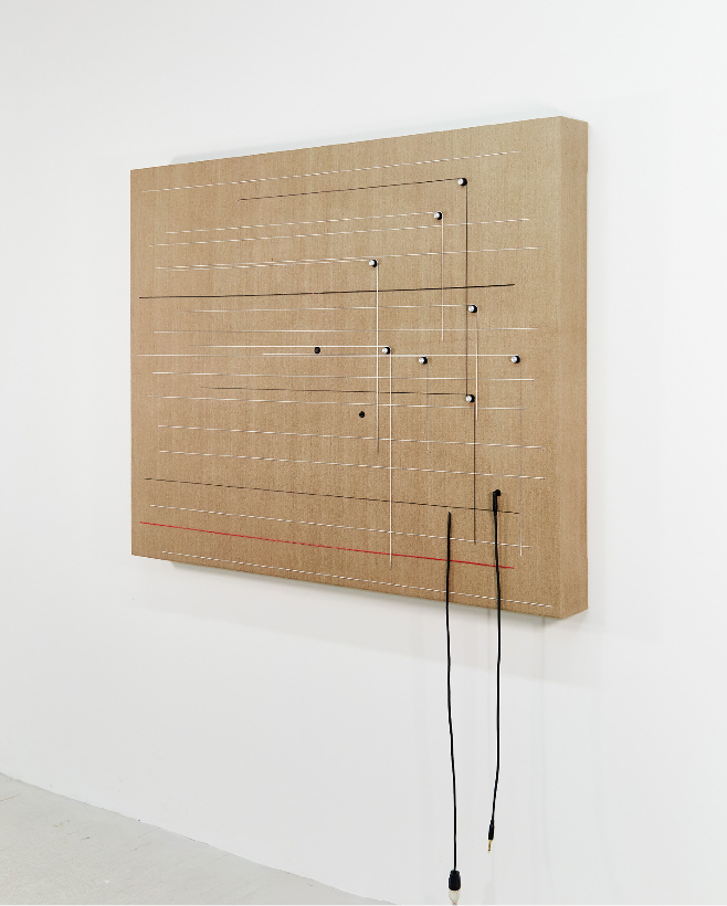 "Transition, 2018 Wood, canvas, electronics, cables, knobs, amplifier tubes, speakers. 48 x 59.5 x 5.5"" / 121.9 x 151.1 x 14 cm"