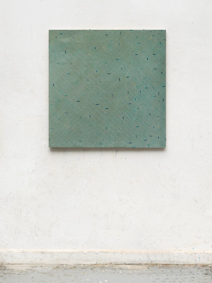 Gregor Hildebrandt trüb grau ins blau, 2017 Start and end of audio cassettes on canvas 97 x 97 cm - signed  Courtesy of the artist and GALERIE KLÜSER