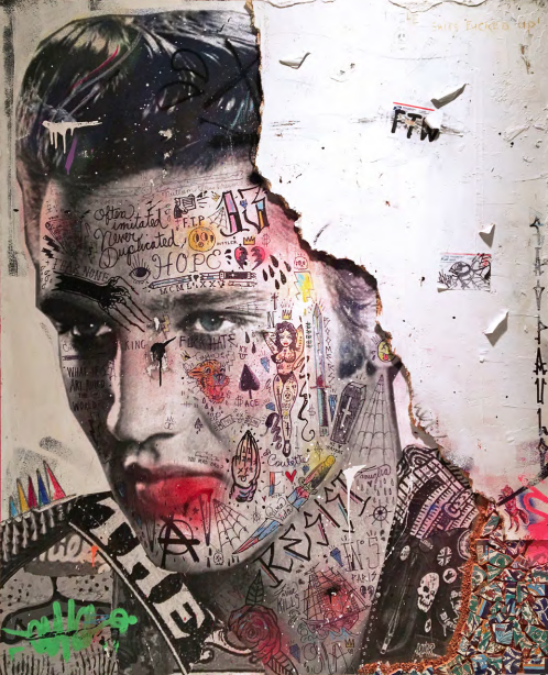 Le King (Elvis Presley) 2018   Mixed media on canvas with reclaimed wood & Tunisian hand painted tiles.  60 x 48
