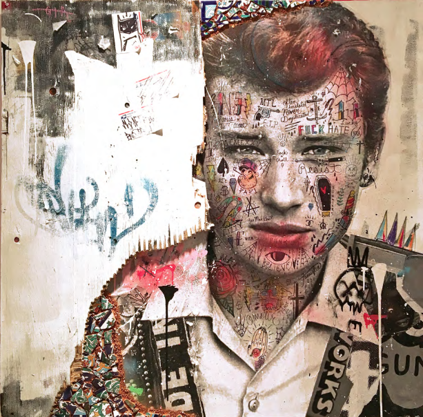 L'autre King (Johnny Hallyday) 2018  Mixed media on canvas with reclaimed wood & Tunisian hand painted tiles  48 x 48