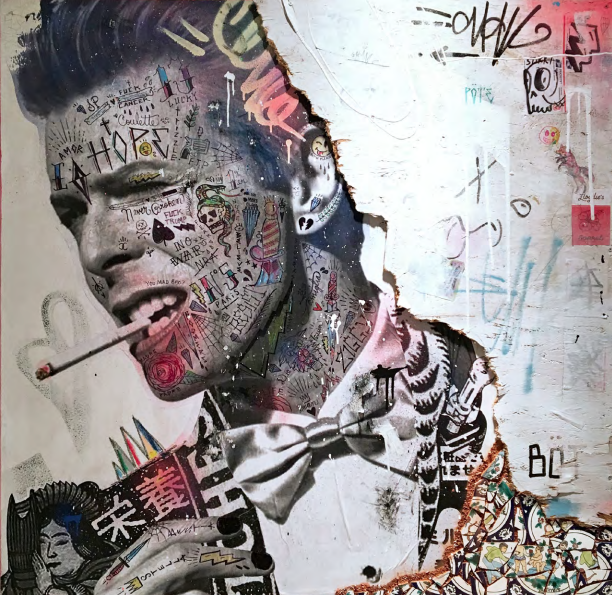 Thin White Duke (David Bowie) 2018  Mixed media on canvas with reclaimed wood & Tunisian hand painted tiles  48 x 48