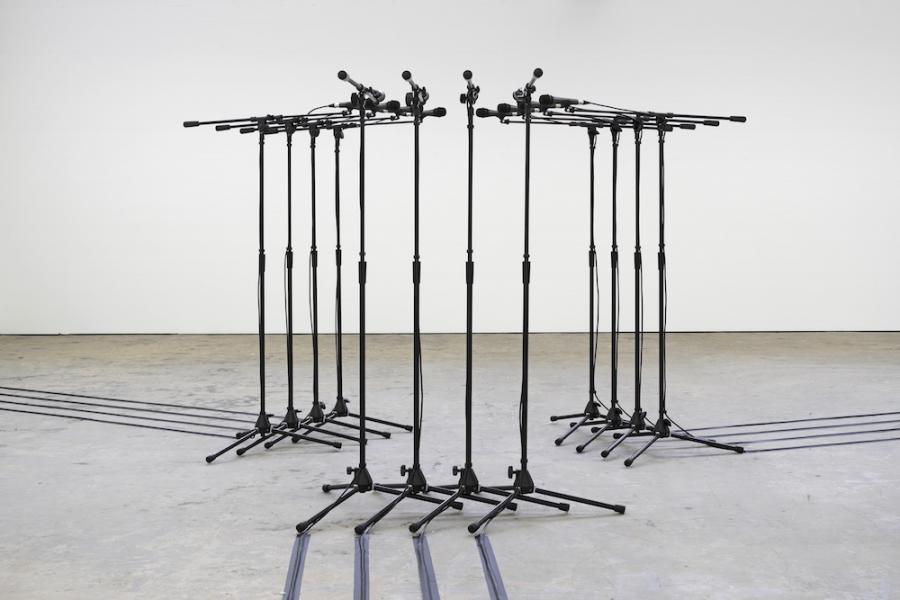 Naama Tsabar, Barricade #2, 2016, installation view Kunsthaus Baselland 2018, photo: Serge Hasenböhler