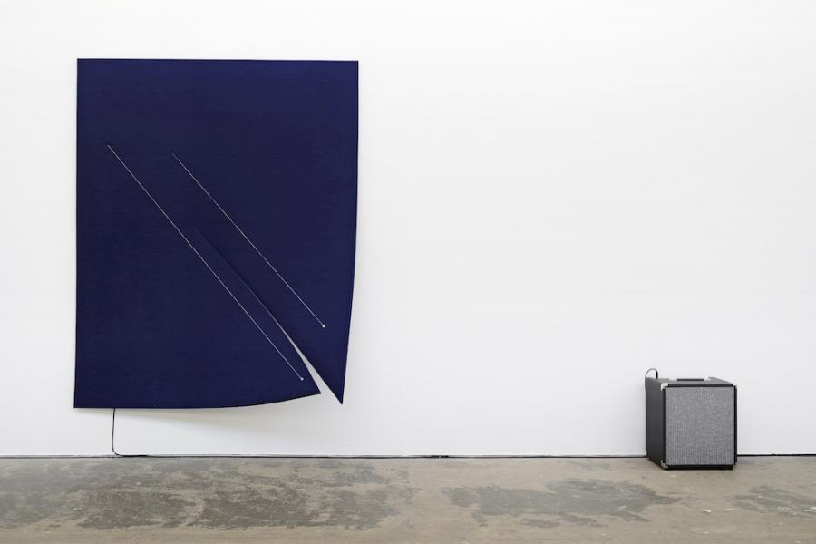 Naama Tsabar, Work On Felt (Variation 11), Dark Blue, 2016, installation view Kunsthaus Baselland 2018, photo: Serge Hasenböhler