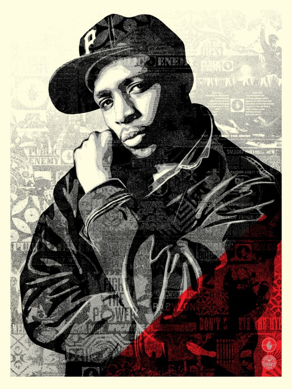 Chuck D Black Steel Screen Print (RED). 18 x 24 inches. Screen print on cream Speckle Tone paper. Signed by Shepard Fairey, Chuck D, and Janette Beckman. Numbered edition of 550. $80. Available Thursday, June 28th @ 10AM (PDT) on  ObeyGiant.com  in Store under Prints. Limit 1 per person/household.