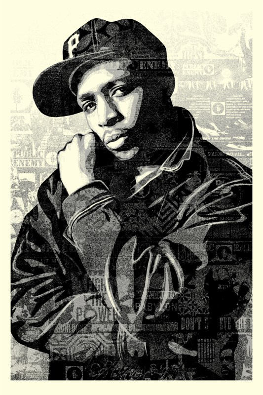 Chuck D Black Steel Large Screen Print (BLACK). 24 x 36 inches. Screen print on cream Speckle Tone paper. Signed by Shepard Fairey, Chuck D, and Janette Beckman. Numbered edition of 300. $150. Available Thursday, June 28th @ 5PM (PDT) on  ObeyGiant.com  in Store under Prints. Limit 1 per person/household.
