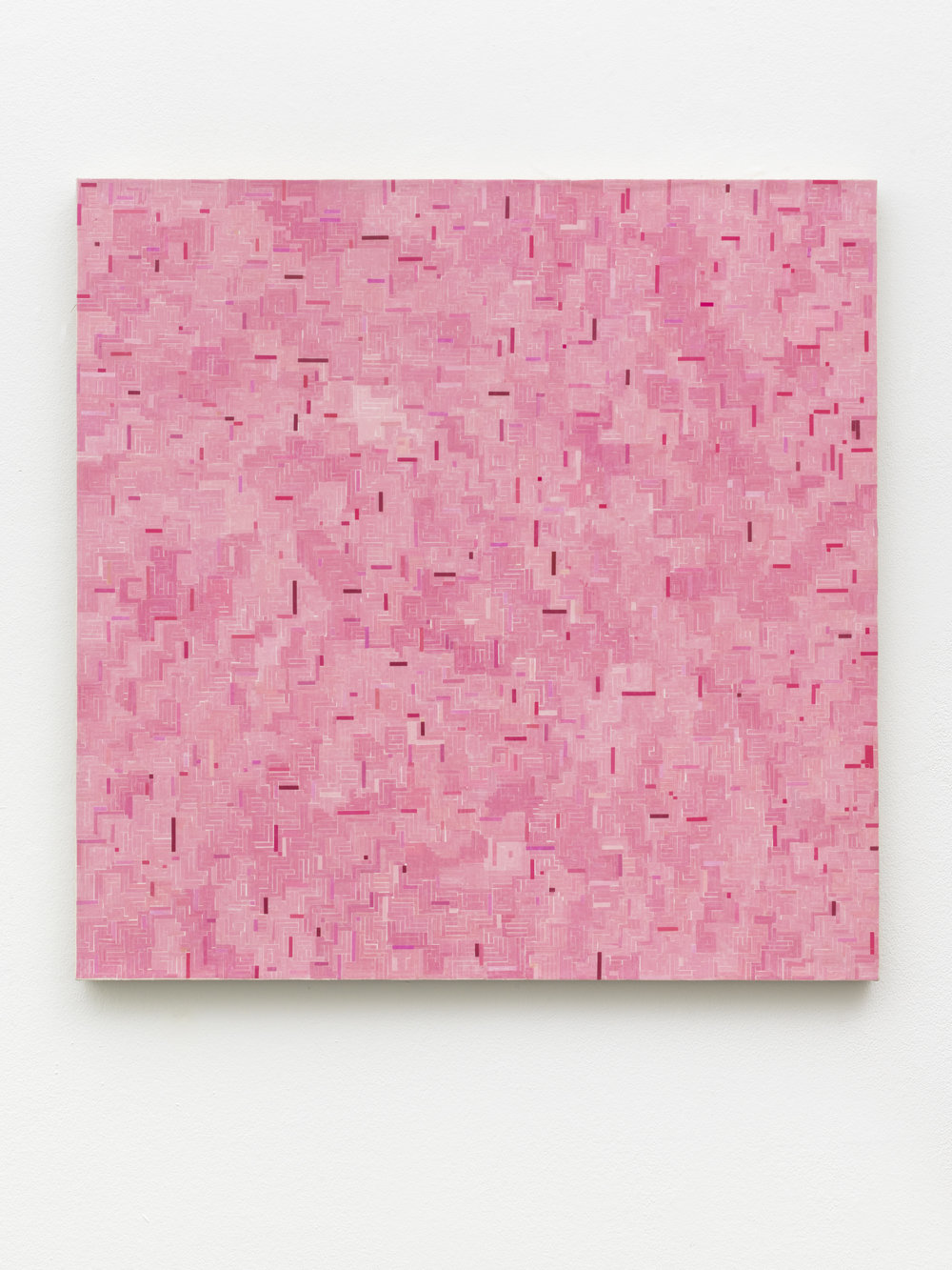 """GH/M 1114, Gregor Hildebrandt  """"pink mich zu Ende"""", 2018 74 x 74 cm / 29 1/4 x 29 1/4 in start and end of audio cassettes and acrylic on canvas"""