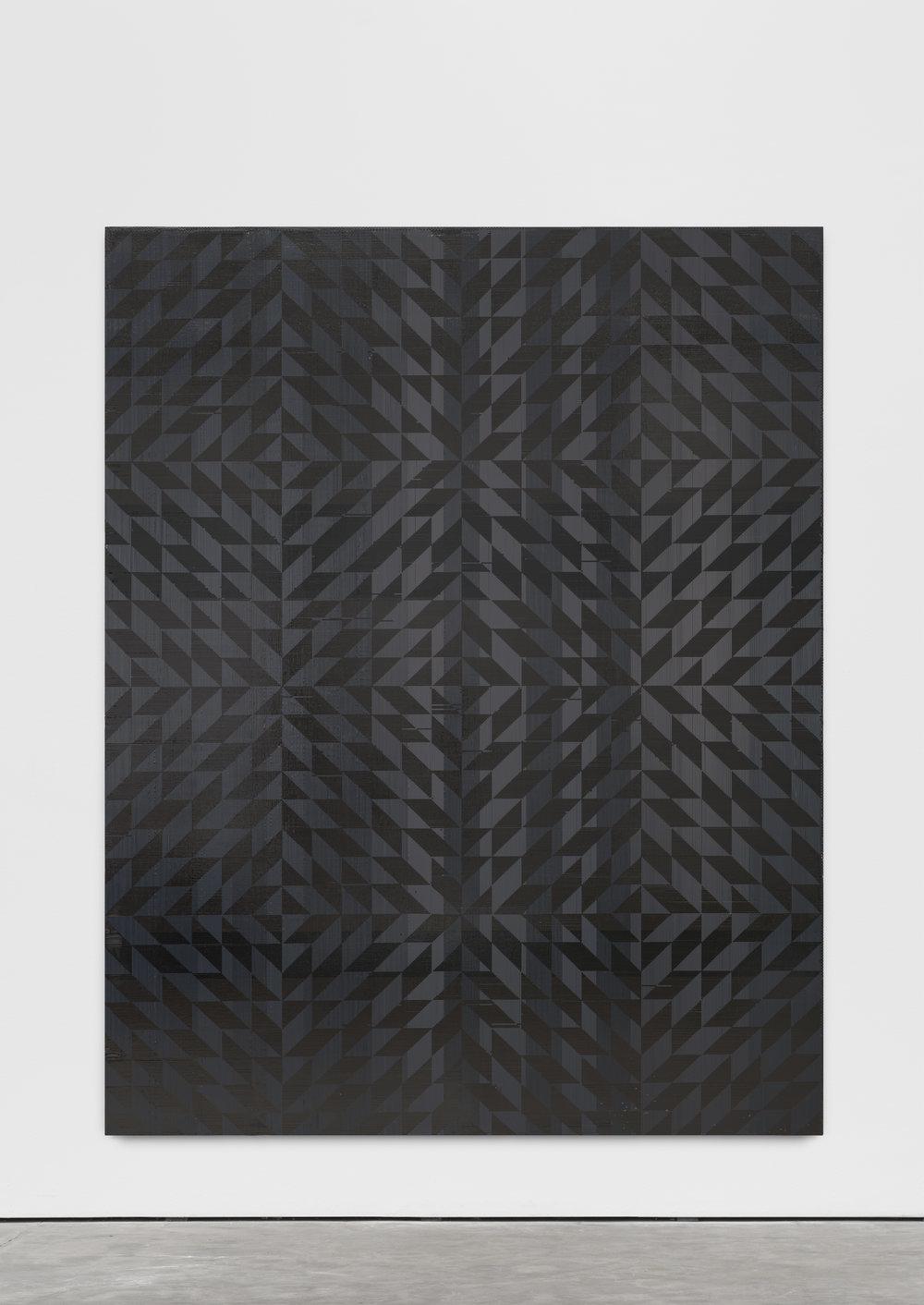 """GH/M 1106, Gregor Hildebrandt  """"Ich hab mich auf den Boden gelegt (Toco)"""", 2018 241 x 190.6 cm / 95 x 75 in cassette tape on canvas"""