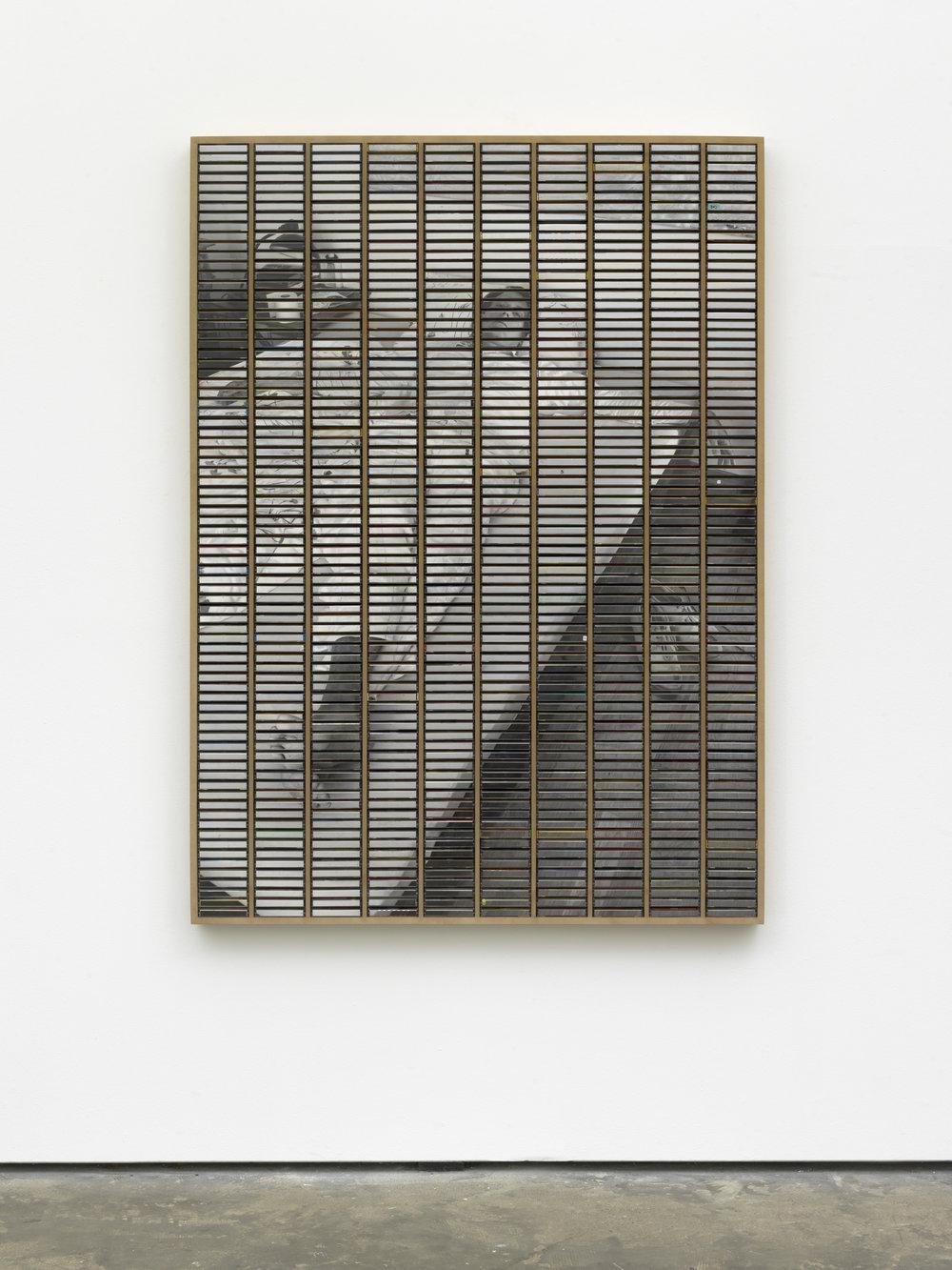 "GH/M 1121/KSK, Gregor Hildebrandt  ""Im Zimmer die Decke betrachtend"", 2018 170 x 125 cm / 67 x 49 1/4 in ink jet print and plastic boxes in wooden case"
