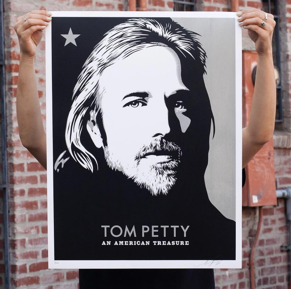 Tom Petty: An American Treasure Canvas on Speckle Tone True White Paper. 18 x 24 inches. Signed by Shepard Fairey. Numbered edition of 275. $60. Available Thursday, September 27th @ 10AM (PDT) on ObeyGiant.com in Store under Prints. Max order: 1 per customer/household. Multiple orders will be refunded. International customers are responsible for import fees due upon delivery. ⠀