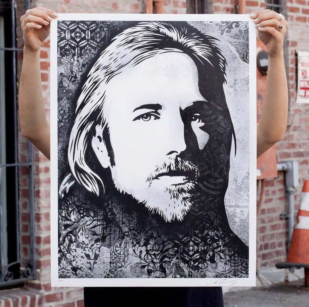Tom Petty: An American Treasure on Speckle Tone True White Paper. 18 x 24 inches. Signed by Shepard Fairey. Numbered edition of 275. $60. Available Thursday, September 27th @ 11AM (PDT) on ObeyGiant.com in Store under Prints. Max order: 1 per customer/household. Multiple orders will be refunded. International customers are responsible for import fees due upon delivery. ⠀
