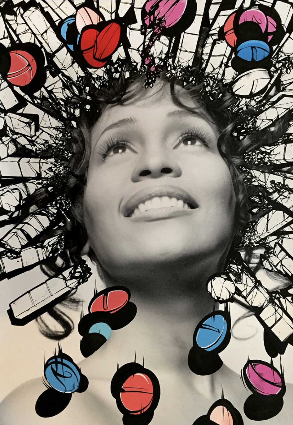 """Whitney – Pill-Head Series""  Acrylic on archival photo paper 22in x 32in"